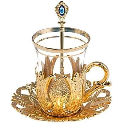 Juego de 6 vasos de té con soportes, cucharas y platillo, diseño vintage tulipán, color dorado