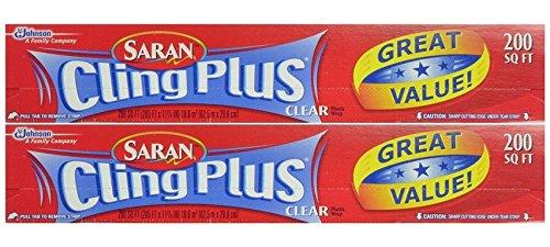 Saran Wrap Cling Plus Wrap 200 sq.', Boxed, Pack of 2