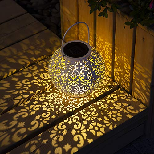 GIGALUMI Solar Lantern White Hanging Garden Lights Great Outdoor Lawn Décor for Patio Garden, Yard and Lawn