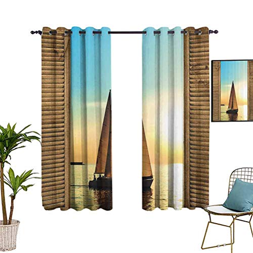 Anyangeight Sea Life Nautical Beach Ocean Decor Blackout Curtain Panels Sailboats in Scenic Sunset by Wooden Window Frames Grommet Top Window Treatment Drapes for Kitchen Windows 55'x72' Polyester