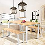Hooseng 3 Piece Kitchen Dining Room Table Set, Wood Dining Table and 2 Benches Set Beige