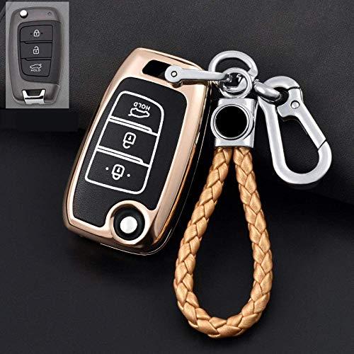 Llavero para la cubierta de la llave del auto, Aleación de zinc Carcasa luminosa para la llave del auto para Hyundai Tucson I10 Ix25 Ix35 I20 I30 I40 Santa Solaris Verna Mistra Elantra, A, N