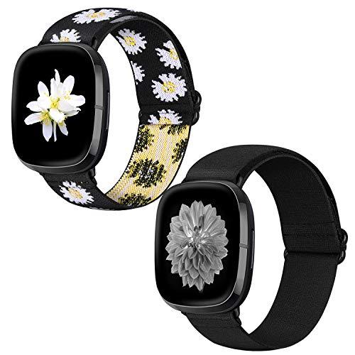 XFYELE Elastic Watch Bands Compatible with Fitbit Versa 3/Fitbit Sense, Adjustable Nylon Stretchy Loop Strap Replacemen Wristband Bracelet for Women Men (Black+Daisy)