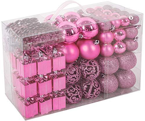 Brubaker Set di 101 Accessori Decorativi per L'Albero di Natale - addobbi Natalizie in Color Rosa - Diverse Forme di Palline ed Un Puntale per Albero di Natale
