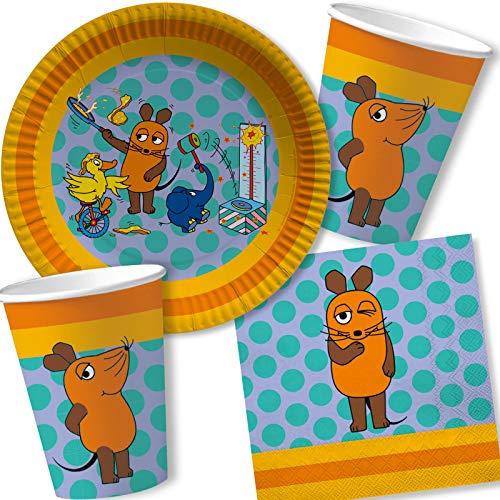 DH-Konzept/Carpeta 37-TLG. Party-Set * DIE Sendung MIT DER Maus * mit Teller, Becher, Servietten und Deko für Kindergeburtstag und Mottoparty | Kinder lieben Diese Maus zum Geburtstag und Motto-Party