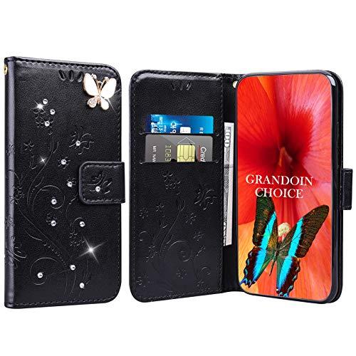 GrandoinChoice für Huawei Honor Play 8A / Y6 Pro 2019, Bling Glitzer Handyhülle im Brieftasche-Stil [Diamant-Serie] PU Leder Ledercase Flip Tasche Wallet Tasche Handytasche Cover Etui Hülle (Schwarz)