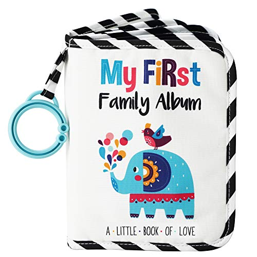 Urban Kiddy Baby's My First Family Album   Soft Photo Cloth Book Gift Set for Newborn Toddler & Kids (Elephant)