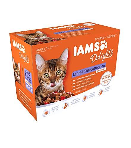 Iams Delights - Multipack, Alimento Umido per Gatti Adulti, Gusti assortiti Sapori di Terra e Mare in salsa - 12 bustine da 85 gr