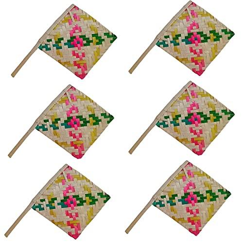 Pankha Bena - Abanico de mano natural hecho a mano de bambú para aire fresco natural, juego de 6 (multicolor)