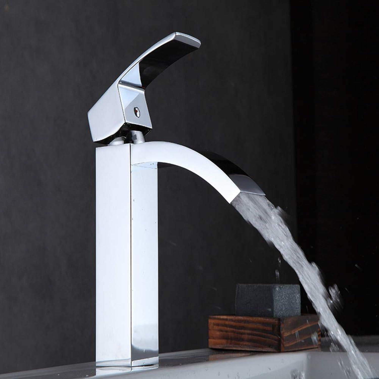 Bathroom Sink Tap Modern Basin Sink Mixer Tap Single Handle Square Brass Waterfall Faucet Face Basin Faucet Bathroom Faucet
