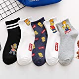 10 Pares Socks Simpson Family Cute Cartoon Socks Men Women Unisex Funny Happy Socks For Girls Harajuku Ladies MaleCotton