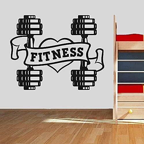 Calcomanía de vinilo para pared Interior Art Deco Love Fitness Gym Dumbbell 76x60cm