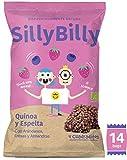SillyBilly Cuadraditos horneados BIO de Quinoa, Espelta, Fresa, Arándanos y Almendras (Pack 14 X 24g)