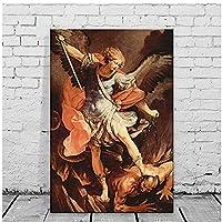 Guido ReniMichaelArcangelクールな壁の装飾キャンバスの壁アートhdプリント絵画ポスター家の装飾アートワーク-20x30インチx1フレームなし