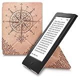 kwmobile Carcasa Compatible con Kobo Aura H2O Edition 2 - Funda magnética de Origami para e-Book - Rosa los Vientos marrón Oscuro/Beige