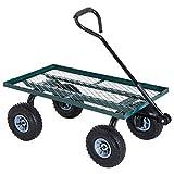 Outsunny Chariot de Transport Jardin remorque à Main charrette à Bras 4 Roues...