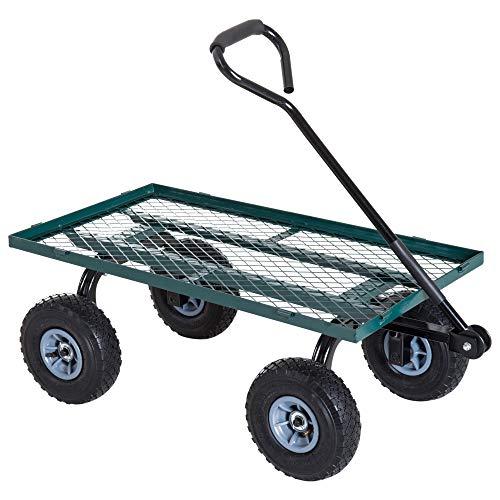 Outsunny Chariot de Transport Jardin remorque à Main charrette à Bras 4 Roues 98L x 45l x 85H cm Charge Max. 150 Kg métal Vert