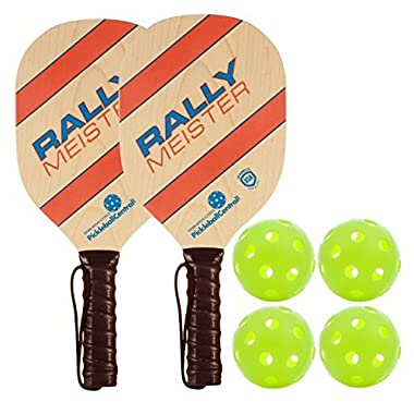Rally Meister Wood Pickleball Paddle Bundle (Set included 2 Paddles & 4 Balls)