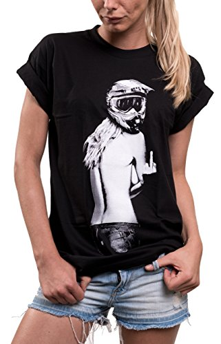 MAKAYA Oversize Top Manga Corta - Casco Motocross - Camiseta Moto para Mujer Negro S