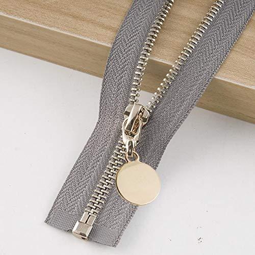 Houer Doorgestikte gewatteerde rits met metalen afneembare jas Leren roksluiting Kledingstukaccessoire, grijze, zilveren tand