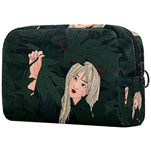 Kosmetiktasche Damen Chica de los ciervos del Bosque Make Up Bag tragbar Schminktasche Federmäppchen Kleine Handtasche Reise Make-up Organizer 18.5x7.5x13cm