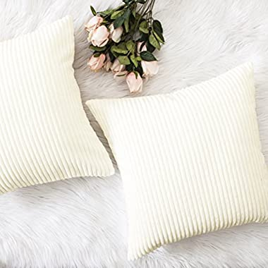 HOME BRILLIANT Christmas Decor Striped Corduroy Velvet Cushion Covers Set Baby Square Decorative Pillowcase, Creamy White, Set of 2, 18 x18 (45cm)