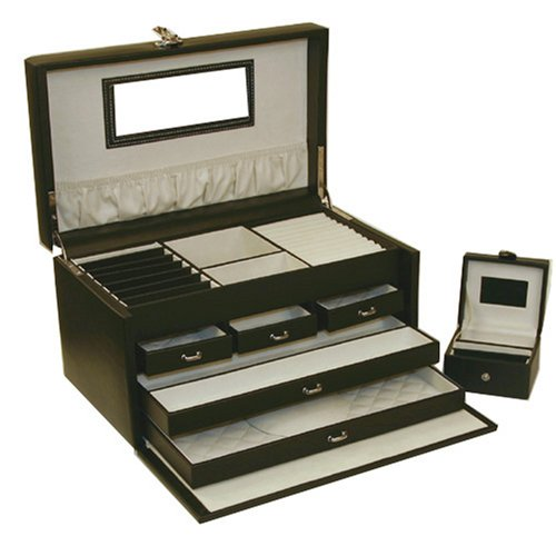 Hot Sale Jewelry Box Travel Genuine Leather Black White Stitching X-Large With Travel Case