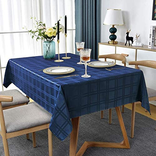 JOLIGAEA 130 x 160 cm Rechteckige Tischdecke, Abwaschbar Tischtuch, Wasserdicht Tischwäsche, Größe & Farbe wählbar, für Gartentisch Feierntage Party Hochzeit Outdoor Camping Haushalt, Marineblau