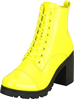 Cambridge Select Women's Lace-Up Chunky Lug Platform Block Mid Heel Ankle Bootie