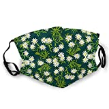 Swiss Alpine Edelweiss Flowers Adjustable Ear Loops Face Bandanas Reusable Washable Face Shield Face Covering Mask for Men Women
