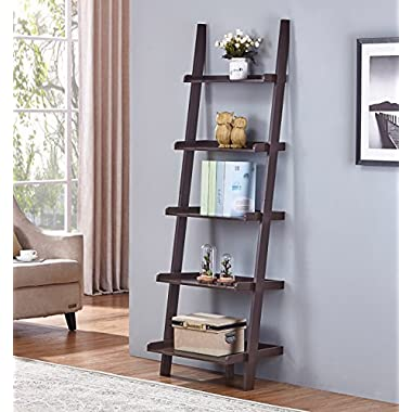 Espresso Finish 5 Tier Bookcase Shelf Ladder Leaning - 72  Height