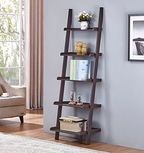 Espresso Finish 5 Tier Bookcase Shelf Ladder Leaning - 72
