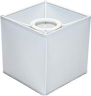 Abażur 120x120x120 mm podstawa x wysokość   Wierna imitacja bawełny   Kolor biały   Prostopadłościan   Pod oprawkę E27 (du...