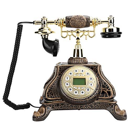 214 Teléfono con Cable Antiguo, teléfono Fijo de Estilo Retro Europeo con luz de Fondo, identificador de Llamadas FSK/DTMF, función Manos Libres, decoración Antigua para el hogar y la Oficina