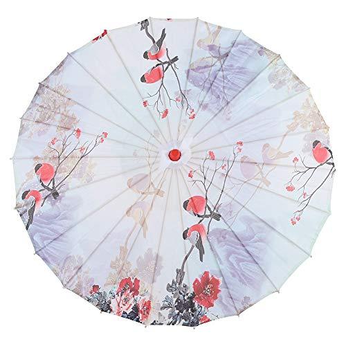 Hakeeta Chinesischer Schirm aus Handgefertigtem Ölpapier. Regendichter Sonnenschirm mit Holzgriff und Klassischem Chinesischem Spannbezug für Cos-Play/Fotografieren/Hochzeit usw
