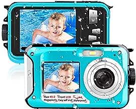 Waterproof Camera Underwater Camera 10 FT 2.7K Full HD 48MP 16X Digital Zoom Waterproof Digital Camera Self-Timer Dual Screens Anti Shake for Snorkeling, Travel and Vacation