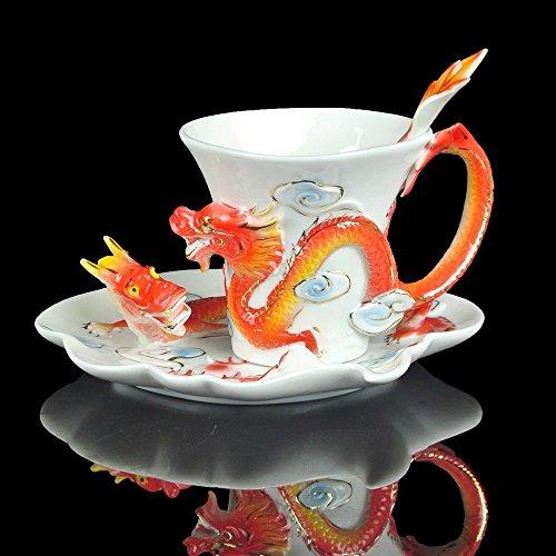 Porzellan-Tassen, mit Untertasse und Löffel, China-Porzellan, Geschenkset, mit Tieren, porzellan, drache, 15*12*14