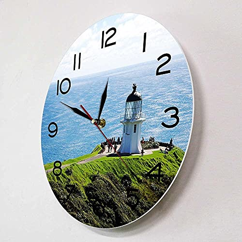 chazuohuaile Co.,ltd Reloj De Pared Sea View Lighthouse North Island Reloj De Pared De Diseño Moderno Edge Travel Decoración del Hogar Reloj Artístico De 12 Pulgadas