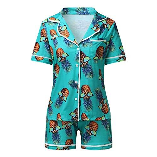 Koaby Damen Mode lässig Bedruckte kurzärmlige Nachtwäsche zweiteiliges Pyjama-Set Geschenke für Frauen