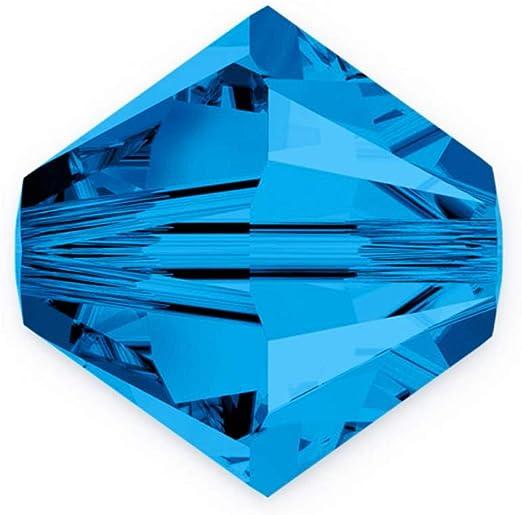 50pcs Authentic 6mm Swarovski Crystals 5328 Xilion Bicone Crystal Beads for Jewelry Craft Making (Capri blue) SWA-b625
