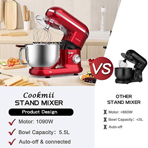 Cookmii Küchenmaschine 1090 Watt Knetmaschine Rührmaschine Teigmaschine Rührgerät, 5,5 Liter-Rührschüssel, 6-stufige Geschwindigkeit Rot - 3