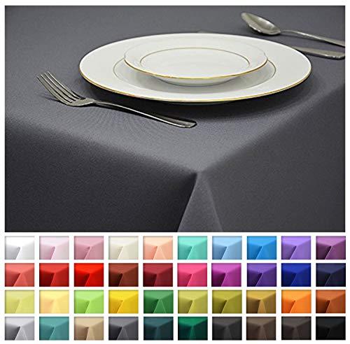 Rollmayer Tischdecke Tischtuch Tischläufer Tischwäsche Gastronomie Kollektion Vivid (Grafit 33, 120x160cm) Uni einfarbig pflegeleicht waschbar 40 Farben