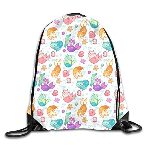 show best Cat Mermaids Drawstring Gym Bag for Women and Men Polyester Gym Sack String Backpack for Sport Workout, School, Travel, Books 14.17 X 16.9 inch