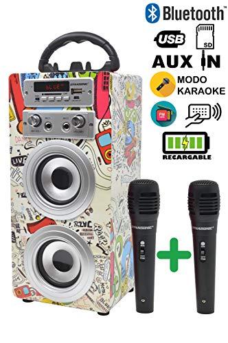 DYNASONIC 025 Cassa Bluetooth Altoparlante con Karaoke 10W | Cassa portatile compatibile con computer, telefoni ecc con Microfono incluso (2 Microfoni)