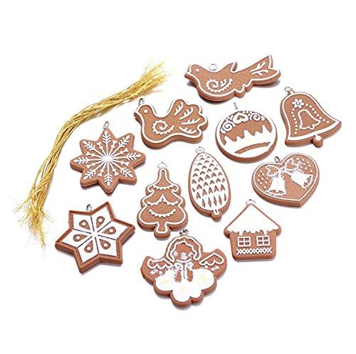 Chytaii Kit de Décoration Ornement Suspendue Mini pour Sapin Noël Gingerbread Man 11 pcs