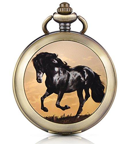 Unendlich U Schwarzes Pferd Ross Handaufzug Mechanische Taschenuhr Foto Medaillon Weißes Zifferblatt Skelettuhr Pullover Halskette, beide Ketten