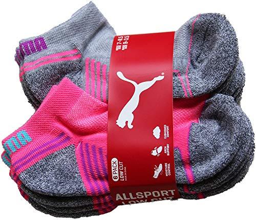 Puma Big Girls 6-Pair Low Cut Sport Socks Onesize (Big Girls) Gray & Pink