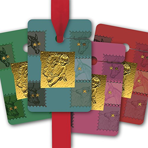 Étiquettes de Cadeau pour noël | gift tags en papier | cartes de cadeaux (80 Pcs = 10 paquets) pour une belle emballage de noel avec l'enfant Jésus et les animaux de la mangeoire