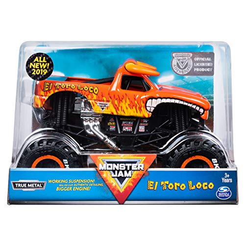MJ Monster Jam, Official El Toro Loco Monster Truck, Die-Cast Vehicle, 1:24 Scale