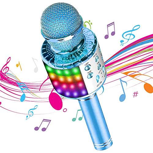 DY_Jin Micrófono inalámbrico de Karaoke Bluetooth 4 en 1 con Luces LED, portátil de Mano para niños, Reproductor KTV doméstico con función de grabación(Blue)